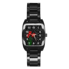 Red tulips Stainless Steel Barrel Watch