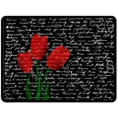 Red tulips Double Sided Fleece Blanket (Large)