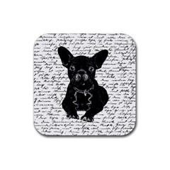 Cute bulldog Rubber Coaster (Square)