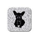 Cute bulldog Rubber Coaster (Square)  Front