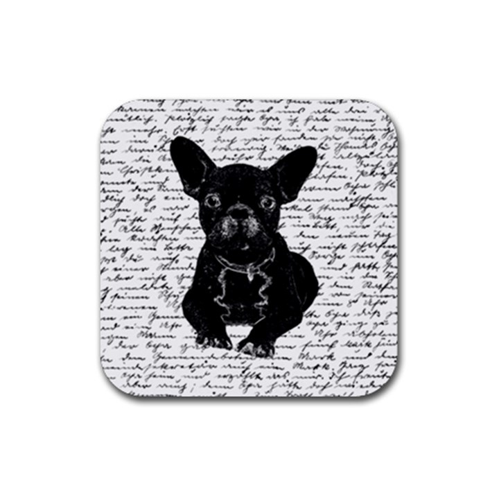 Cute bulldog Rubber Coaster (Square)