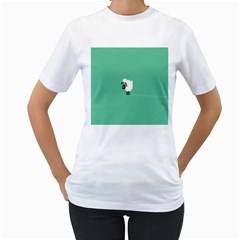 Sheep Trails Curly Minimalism Women s T-Shirt (White) (Two Sided)