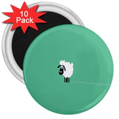 Sheep Trails Curly Minimalism 3  Magnets (10 Pack)