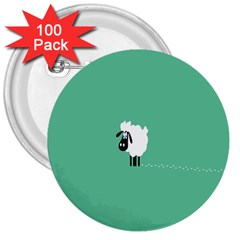 Sheep Trails Curly Minimalism 3  Buttons (100 Pack)