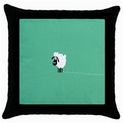 Sheep Trails Curly Minimalism Throw Pillow Case (black)