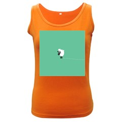 Sheep Trails Curly Minimalism Women s Dark Tank Top