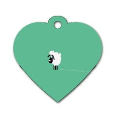 Sheep Trails Curly Minimalism Dog Tag Heart (two Sides)