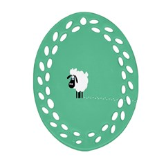 Sheep Trails Curly Minimalism Oval Filigree Ornament (Two Sides)