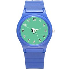 Sheep Trails Curly Minimalism Round Plastic Sport Watch (s)