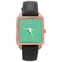 Sheep Trails Curly Minimalism Rose Gold Leather Watch