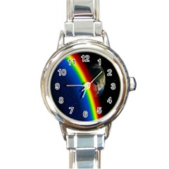 Rainbow Earth Outer Space Fantasy Carmen Image Round Italian Charm Watch