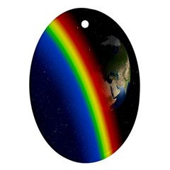 Rainbow Earth Outer Space Fantasy Carmen Image Ornament (Oval)