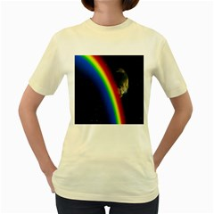 Rainbow Earth Outer Space Fantasy Carmen Image Women s Yellow T-Shirt