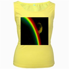 Rainbow Earth Outer Space Fantasy Carmen Image Women s Yellow Tank Top