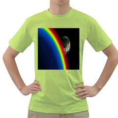 Rainbow Earth Outer Space Fantasy Carmen Image Green T-Shirt