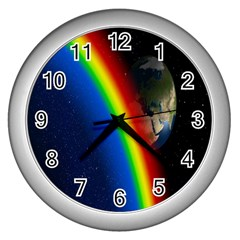 Rainbow Earth Outer Space Fantasy Carmen Image Wall Clocks (Silver)
