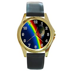 Rainbow Earth Outer Space Fantasy Carmen Image Round Gold Metal Watch