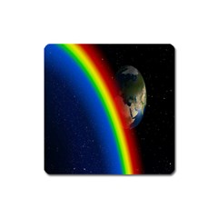 Rainbow Earth Outer Space Fantasy Carmen Image Square Magnet