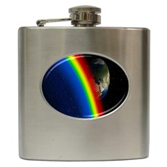 Rainbow Earth Outer Space Fantasy Carmen Image Hip Flask (6 Oz)
