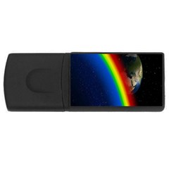 Rainbow Earth Outer Space Fantasy Carmen Image USB Flash Drive Rectangular (2 GB)