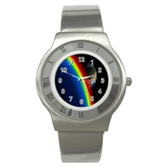 Rainbow Earth Outer Space Fantasy Carmen Image Stainless Steel Watch