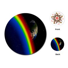 Rainbow Earth Outer Space Fantasy Carmen Image Playing Cards (Round)