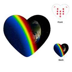 Rainbow Earth Outer Space Fantasy Carmen Image Playing Cards (Heart)