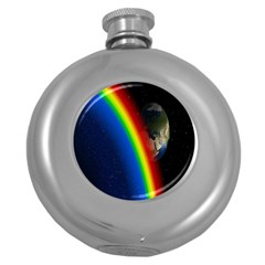 Rainbow Earth Outer Space Fantasy Carmen Image Round Hip Flask (5 oz)