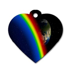 Rainbow Earth Outer Space Fantasy Carmen Image Dog Tag Heart (One Side)