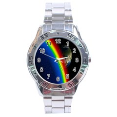 Rainbow Earth Outer Space Fantasy Carmen Image Stainless Steel Analogue Watch