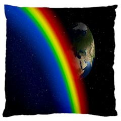 Rainbow Earth Outer Space Fantasy Carmen Image Large Cushion Case (Two Sides)