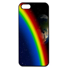 Rainbow Earth Outer Space Fantasy Carmen Image Apple iPhone 5 Seamless Case (Black)