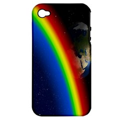 Rainbow Earth Outer Space Fantasy Carmen Image Apple iPhone 4/4S Hardshell Case (PC+Silicone)