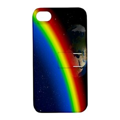 Rainbow Earth Outer Space Fantasy Carmen Image Apple Iphone 4/4s Hardshell Case With Stand