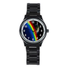 Rainbow Earth Outer Space Fantasy Carmen Image Stainless Steel Round Watch