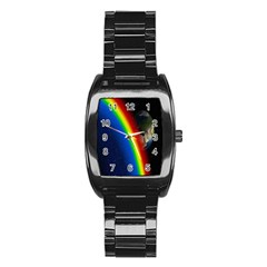 Rainbow Earth Outer Space Fantasy Carmen Image Stainless Steel Barrel Watch