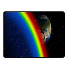 Rainbow Earth Outer Space Fantasy Carmen Image Double Sided Fleece Blanket (Small)