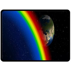 Rainbow Earth Outer Space Fantasy Carmen Image Double Sided Fleece Blanket (Large)