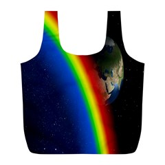 Rainbow Earth Outer Space Fantasy Carmen Image Full Print Recycle Bags (L)