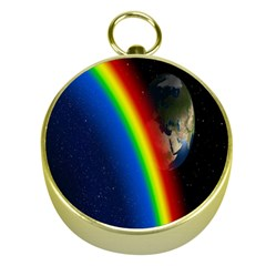 Rainbow Earth Outer Space Fantasy Carmen Image Gold Compasses