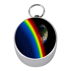 Rainbow Earth Outer Space Fantasy Carmen Image Mini Silver Compasses