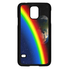 Rainbow Earth Outer Space Fantasy Carmen Image Samsung Galaxy S5 Case (Black)