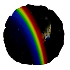 Rainbow Earth Outer Space Fantasy Carmen Image Large 18  Premium Flano Round Cushions