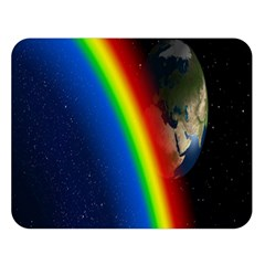 Rainbow Earth Outer Space Fantasy Carmen Image Double Sided Flano Blanket (Large)