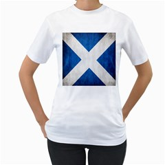 Scotland Flag Surface Texture Color Symbolism Women s T Shirt (white) (two Sided)