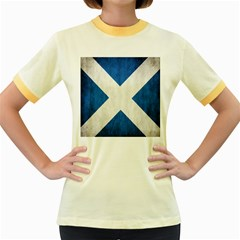 Scotland Flag Surface Texture Color Symbolism Women s Fitted Ringer T-Shirts