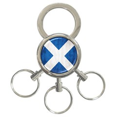 Scotland Flag Surface Texture Color Symbolism 3-Ring Key Chains