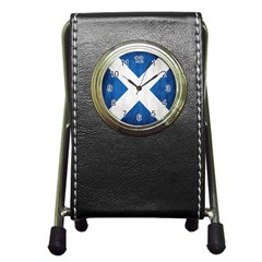 Scotland Flag Surface Texture Color Symbolism Pen Holder Desk Clocks