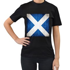 Scotland Flag Surface Texture Color Symbolism Women s T Shirt (black) (two Sided)