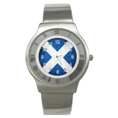 Scotland Flag Surface Texture Color Symbolism Stainless Steel Watch